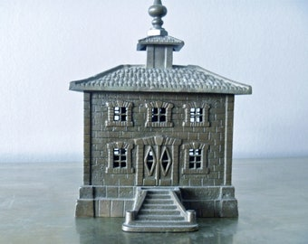 1 Very Large Antique French Metal Coin Bank Building, 19th Century