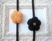 Black orange headbands set of 2pcs Fabric flowers baby girl newborn gift  handmade - ready to ship