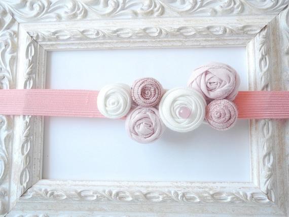 Elastic headband Pink white fabric flower stretch hairband baby newborn girl child - handmade - ready to ship