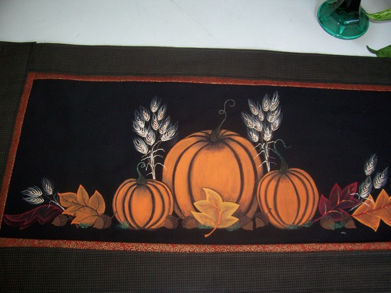 Hand Painted Pumpkin Table Runner, Fall leaves, Acorns, Wheat, Fall Decoration, FITOFG