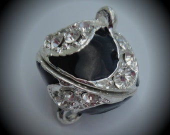 Silver Plated Crystal Clear Extra Strong Magnetic Clasp With Black Enamel