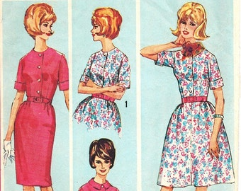 "Vintage 1960's Simplicity 5278 ""How to Sew a Pattern"" Shirtwaist Dress Slim or Flared Skirt Sewing Pattern Bust 37"