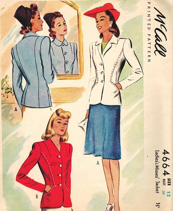 Vintage 40s McCall 4664 Fall Fitted Blazer Jacket Sewing Pattern SIze 12
