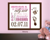 Printable Custom Baby Stats Print with Footprints, Nursery Wall Art Birth Announcement: Sweetly