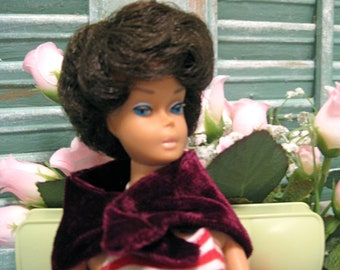 Original Bubble Cut Brunette Barbie From the 60s With Authentic Pair of 1960 Sunglasses