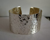 Silver Cuff -  Softly Hammered Fine Silver Bracelet