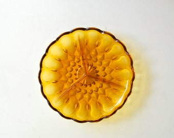 Amber Yellow Divided Glass Dish