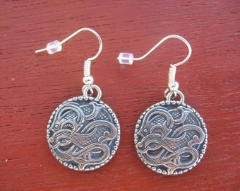 Pewter Button Earrings from Norway Dragon Drage