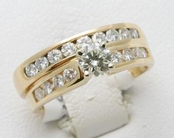Estate 14k yellow gold DIAMOND Wedding Set Ring 1.5 carat Round Engagement Ring
