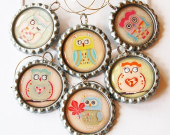 Owl Wine Charms, Owl charms, Wine Glass Charms, Wine Charms, Owls, charm (1345)