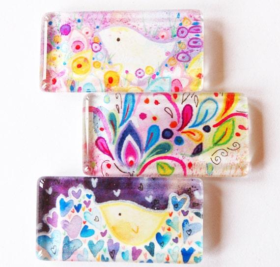 Bird Glass Magnets, Fridge Magnets, Bird Magnets,  kitchen magnets, Flowers, Birds, Lauren Alexander
