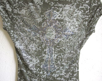 Absolutely Stunning Rhinestone Cross with Wings Camo Burnout Junior Size Medium Only