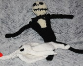 Knitted Jack Skellington and Zero -- Nightmare Before Christmas