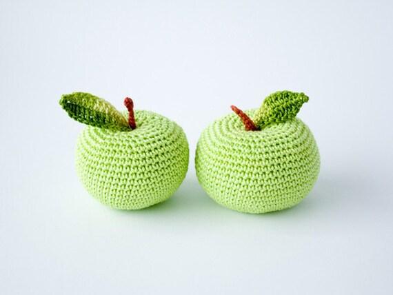 Crochet apples (2 pcs) - teacher gift, back to school, fun kid toy, kitchen decoration, pincushion