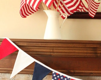 AMERICAN FLAG FABRIC garland -- patriotic pennant fabric flag banner -- party fabric bunting -- July 4 pennant garland -- 9 feet