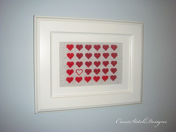Red Hearts Cross Stitch Framed