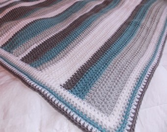 Made to Order- Blue, grey and white striped baby blanket