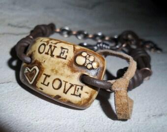 "Bob Marley or U2  ""One Love"" inspired bracelet"