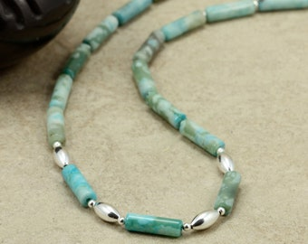 Turquoise Jasper Necklace with Sterling Silver, Strand Necklace, Southwestern
