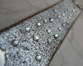 Silver Leather Bracelet Swarovski Crystal Rhinestones Studded Bangle Cuff with Snap D-52-1