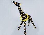 Giraffe Toy Ring Toss Wooden Game. Black & Yellow Dot.