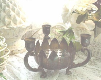 Silver Lotus Centerpiece Vintage Candleholder French Cottage Chic