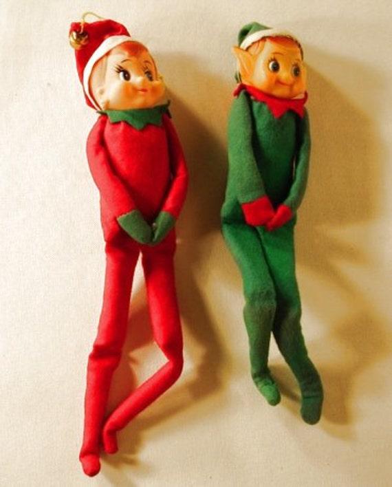 2 Vintage Christmas Pixies/Elves Knee Hugger Pixie Elfs Ornaments