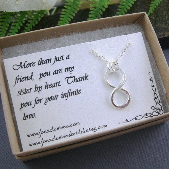 Wedding Gift For Sister Of The Bride : - wedding jewelry-sterling silver infinity love necklace-bridal gift ...