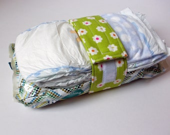 Green Diaper Strap - Green with White Flowers