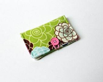 Lime Green Blossom Fabric Business Card Holder, with Green, Pink, Blue Polka Dot - Credit Card Holder, Cloth Card Holder, Gift Card Holder