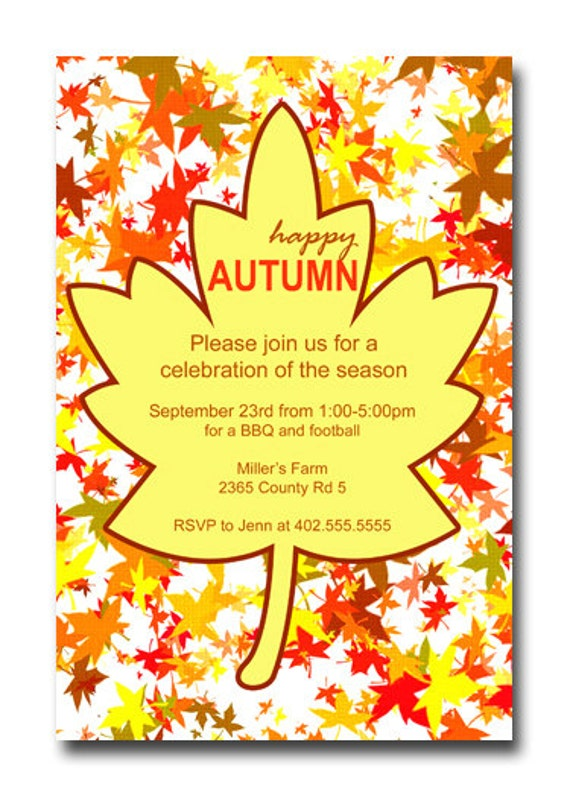 Happy Autumn Fall Leaves BBQ Football Party Invitation Card  - You Print