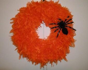 Halloween Wreath, Orange Halloween Feather Wreath, Orange Feather Wreath, Halloween Wreath, Halloween Door Decor, Halloween Door Hanger