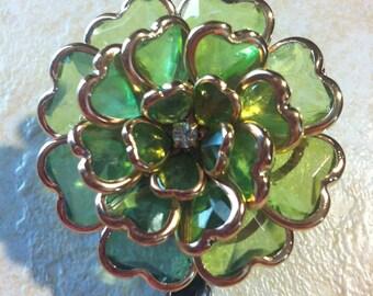 Heart Crystal FLOWER Margarita green Badge Reel retractable ID Key Card Glasses Holder Victorian Teacher  Nurse