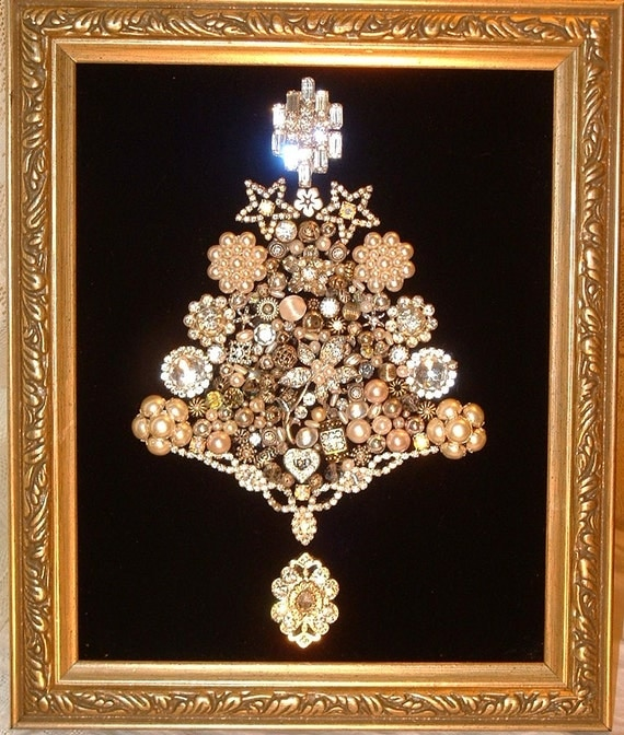 Vintage Jewelry SILVER & WHITE CHRISTMAS Framed Jeweled Christmas Tree - Sparkly Cottage Chic