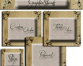 Etsy Shop Banner Set - Banners and Avatars - Floral Leather Scroll Set cover banner