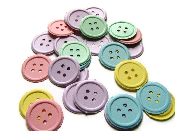100 pastel buttons, button punches,paper buttons, baby shower confetti , primary buttons, embellishment, baby shower decoration
