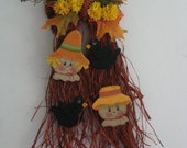 Scarecrow, Bow Raffia, crows and fall flowers, handpainted, wall decor, door decor