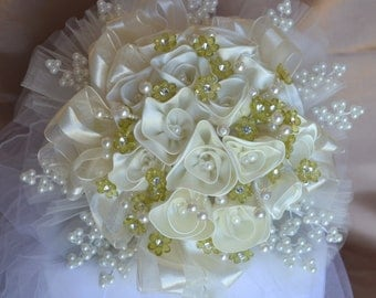 Wedding Bridal Bouquet Cream Ivory Satin Handmade Roses with Pearls