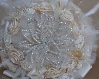Wedding Bouquet Ivory Satin with Pearls Handmade Vintage Elegance