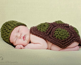 Baby Turtle Costume and Photography Prop for Newborns / Turtle Photo Prop / Newborn Turtle Hat
