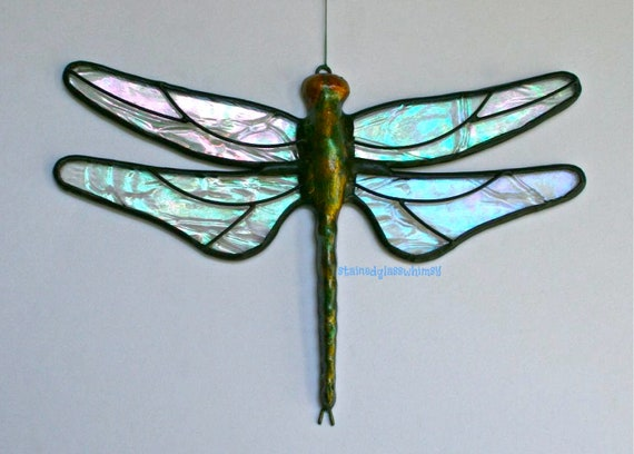 "Stained Glass DRAGONFLY Suncatcher, Clear Iridescent ""Krinkle"" Wings & Hand-Cast Metal Body, USA Handmade"