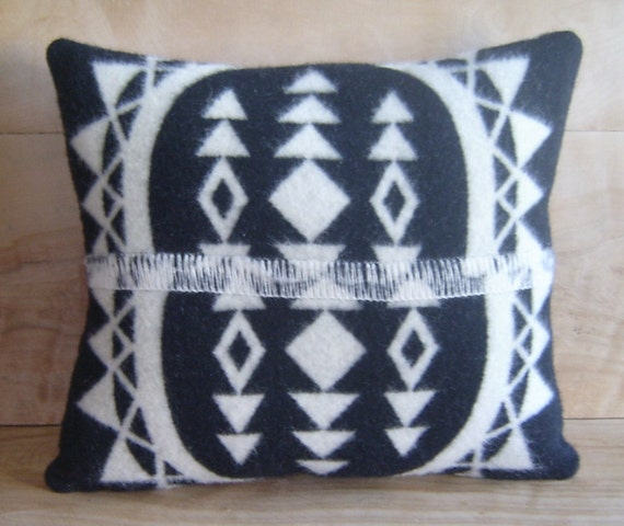 SALE Wool Throw Pillow, 15x16 ... Native, Geometric, Tribal