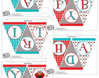 Elmo Banner, Elmo Bunting, Elmo Birthday Banner, Elmo Birthday Bunting, Elmo Party Bunting, Banner, Bunting, Birthday Banner, Party Banner