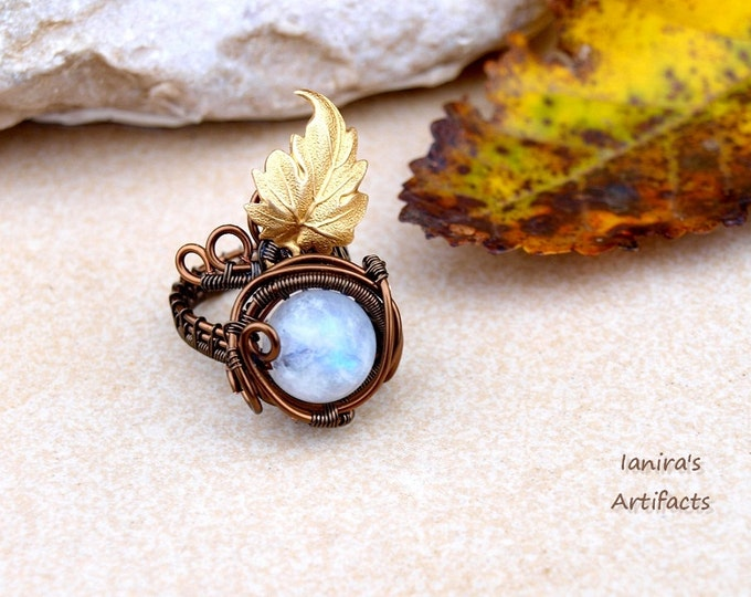 Rainbow Moonstone ring ~ Vintage style ~ Wire wrapped