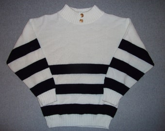 Vintage 80s 90s Striped Sailing Sweater Sail Away I'm on a Boat Hipster Made In USA Tacky Gaudy Ugly Christmas Party X-Mas S Small M Medium