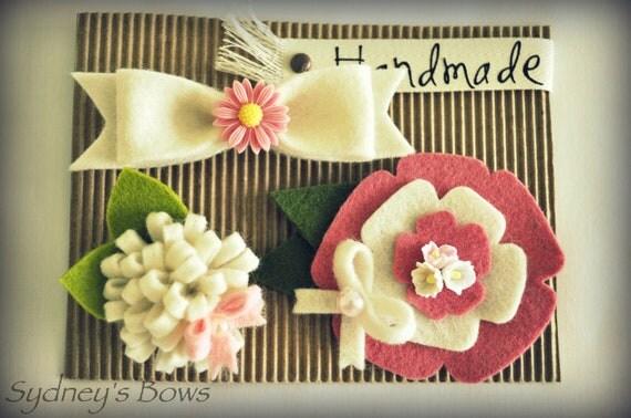 Felt Hair Clips Set -- Flower, loopy bloom, bow hair clips