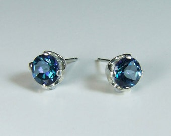 6mm Treated Topaz ('Neptune's Garden Topaz'), 0.85 Carat x 6mm Diameter, Round Cut, Sterling Silver Post Earrings