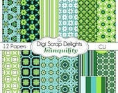 Tranquility Digital Scrapbook Paper in Aqua Blue Green and Black, Instand Download