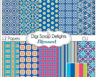 Royal Blue & Pink  Scrapbook Paper for Digital Scrapbooking, Card Making, Photographers, Web Design, Crafts, Instant Download