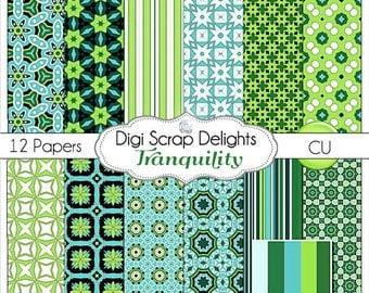 Tranquility Digital Scrapbook Paper in Aqua Blue Green and Black, Instand Download